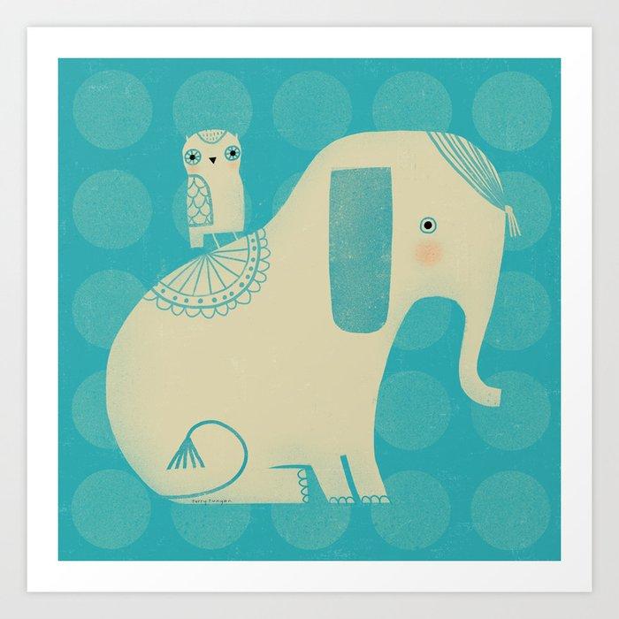 OWL & ELEPHANT Art Print