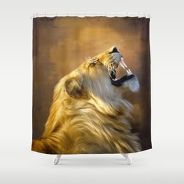 Roaring lion portrait Shower Curtain