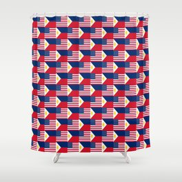 Mix of flag: philippines and Usa Shower Curtain