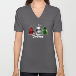 Christmas Tree Buffalo Plaid Unisex V-Neck