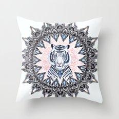 White Tiger Sapphire and Rose Mandala Throw Pillow