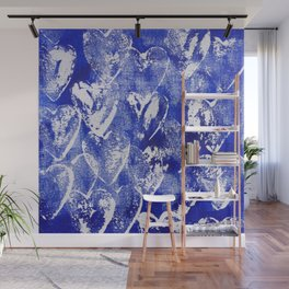 Hearts in blue and white Wall Mural