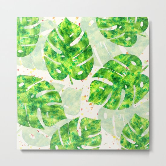 Tropical Monstera Leaves Unique Pattern Metal Print