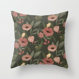 Flowers and Crystals Pattern Throw Pillow