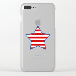 Patriotic Star Blue Border Red and White Stripes Clear iPhone Case