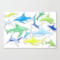 sharks Canvas Prints featuring sharks by Kathryn Rickards