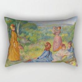 """Auguste Renoir """"Jeunes filles jouant au volant"""" Rectangular Pillow"""