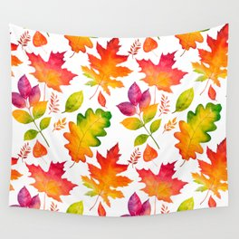 Fall Leaves Watercolor - White Wall Tapestry
