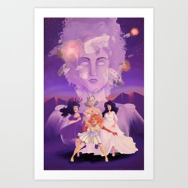 Lesbian Pirates From Outer Space in Fallen Gods Cover Art Print