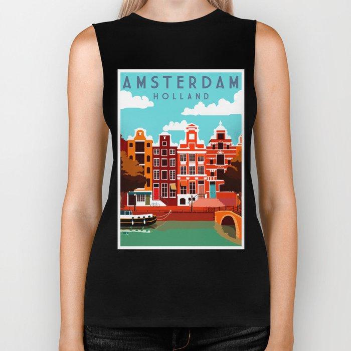 Vintage Amsterdam Holland Travel Biker Tank