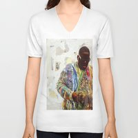 biggie V-neck T-shirts featuring Biggie by Katy Hirschfeld