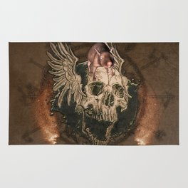 Awesome creepy skull with rat Rug