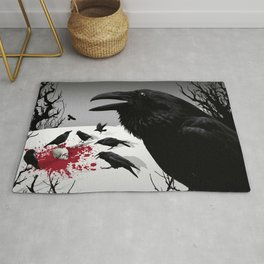 """Murder!"" She Crowed (Gray) Rug"