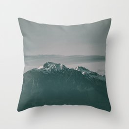 Landscape Italian Snow Mountain Photography Throw Pillow