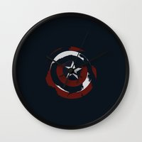 shield Wall Clocks featuring Cap's Shield by George Hatzis