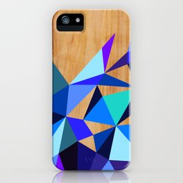 Wooden Geo Blue iPhone Case