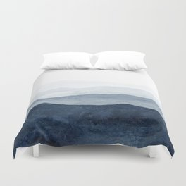 Indigo Abstract Watercolor Mountains Duvet Cover