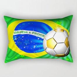 Brazil Flag Gold Green and Soccer Ball Rectangular Pillow
