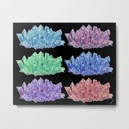 Colorful Crystal Clusters Metal Print
