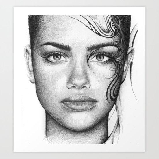 Adriana Lima Portrait Tattoos Beautiful Girl Art Print
