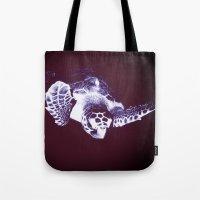 sea turtle Tote Bags featuring Sea Turtle by DistinctyDesign