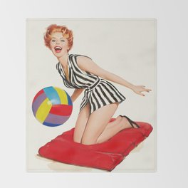 Pin Up Girl and Beach Ball Vintage Art Throw Blanket