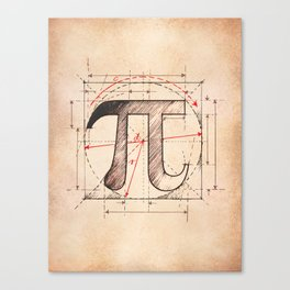Pi Symbol Sketch Canvas Print