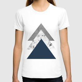 Blue grey monochrome blossom arrows T-shirt