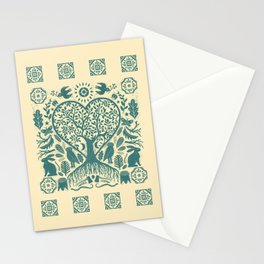 Rustic Early American Tree Of Life Woodcut Stationery Cards