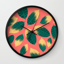 Gold Painted Leaf Pink Wall Clock
