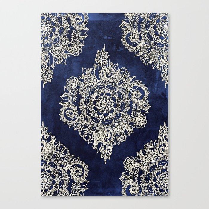 Cream Floral Moroccan Pattern on Deep Indigo Ink Leinwanddruck