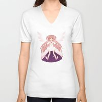 madoka V-neck T-shirts featuring Goddess Madoka by Nozubozu