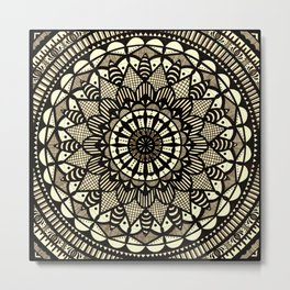 Sepia Mandala Metal Print