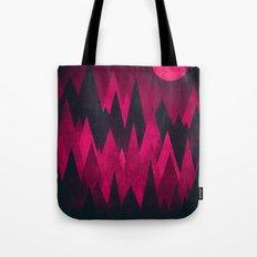 Dark Triangles (Peak Woods) Abstract Grunge Mountains Design (red/black) Tote Bag