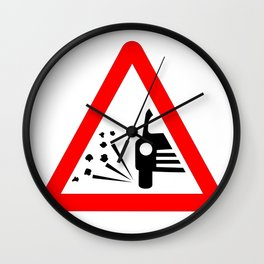 Stone Chipping Traffic Sign Isolated Wall Clock