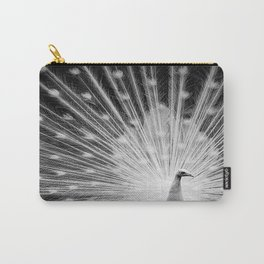 Peacock in White Carry-All Pouch