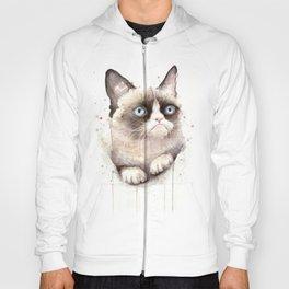 Grumpy Watercolor Cat Animals Meme Geek Art Hoody