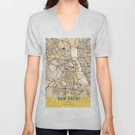 New Delhi Yellow City Map Unisex V-Neck
