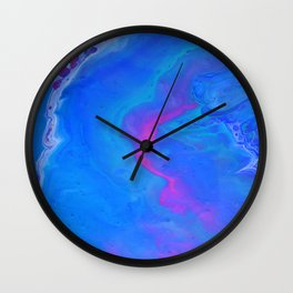 Fantasy II - Bright Sapphire Blue Ultra Violet Purple Fluid Abstract Wall Clock