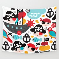 pirate ship Wall Tapestries featuring Cute kids pirate ship and parrot illustration pattern by Little Smilemakers Studio