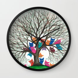 Connecticut Whimsical Cats in Tree Wall Clock