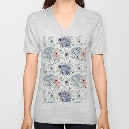 Succulents Blue + Rose Pink on White Unisex V-Neck