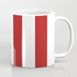 Vertical Stripes - White and Firebrick Red Coffee Mug