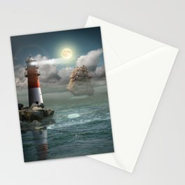 Lighthouse Under Back Light Stationery Cards