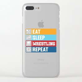Eat Sleep Wrestling Repeat product | Ring Sport Game Tee Clear iPhone Case