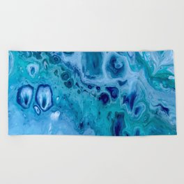 Ocean Blue Acrylic Pour Painting Beach Towel