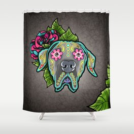 Great Dane with Floppy Ears - Day of the Dead Sugar Skull Dog Shower Curtain