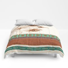 Peacock Feathers and Graphic Stripes and Tile Comforters