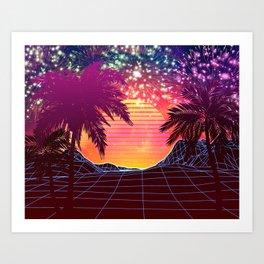 Festival vaporwave landscape with rocks and palms Kunstdrucke