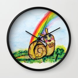 Keep Looking Up - Watercolor Snail and Rainbow Wall Clock